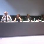 Davide Rampello (direttore artistico del Padiglione Zero di Expo Milano 2015), Maddalena Ragni (direttore generale per il paesaggio, le belle arti, l'architettura e l'arte contemporanea del Mibac) e Luca Zevi (curatore del padiglione Italia) alla conferenza stampa di apertura del padiglione Italia alla XIII Mostra di Architettura della Biennale di Venezia.